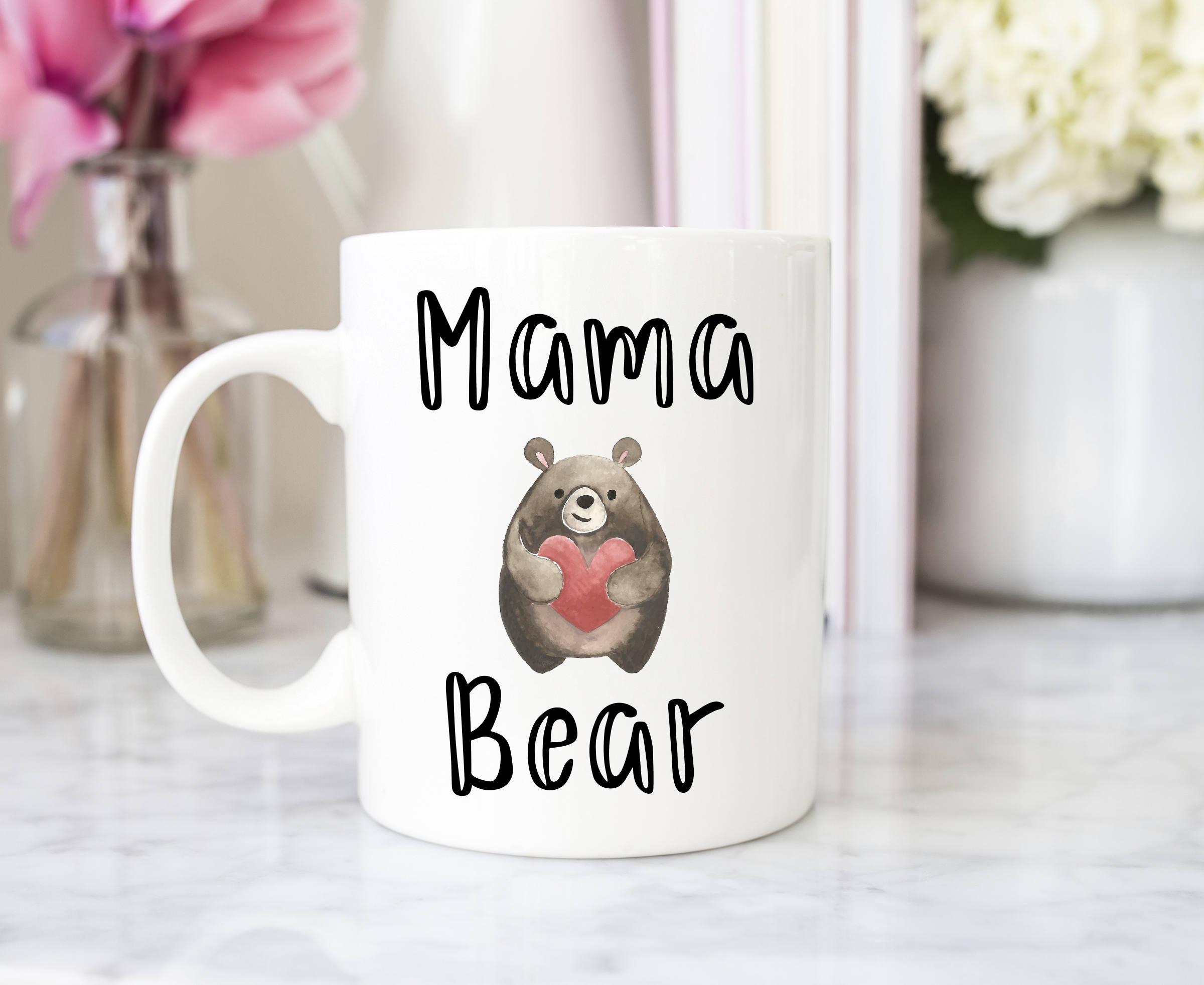 2020 Mama Bear Mug Mother's Day Gift Ceramic Creative Coffee Mug Lid Spoon,Best Mom Mug Mommy Mug Custom Mom Mug