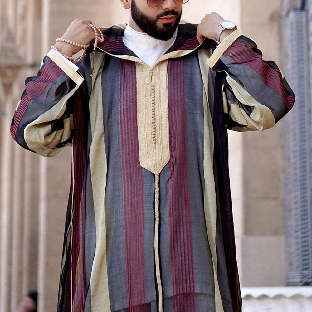Исламский кафтан, мусульманские халаты, мужские повседневные полосатые свободные халаты с длинным рукавом и принтом, мужские накидки в сти...