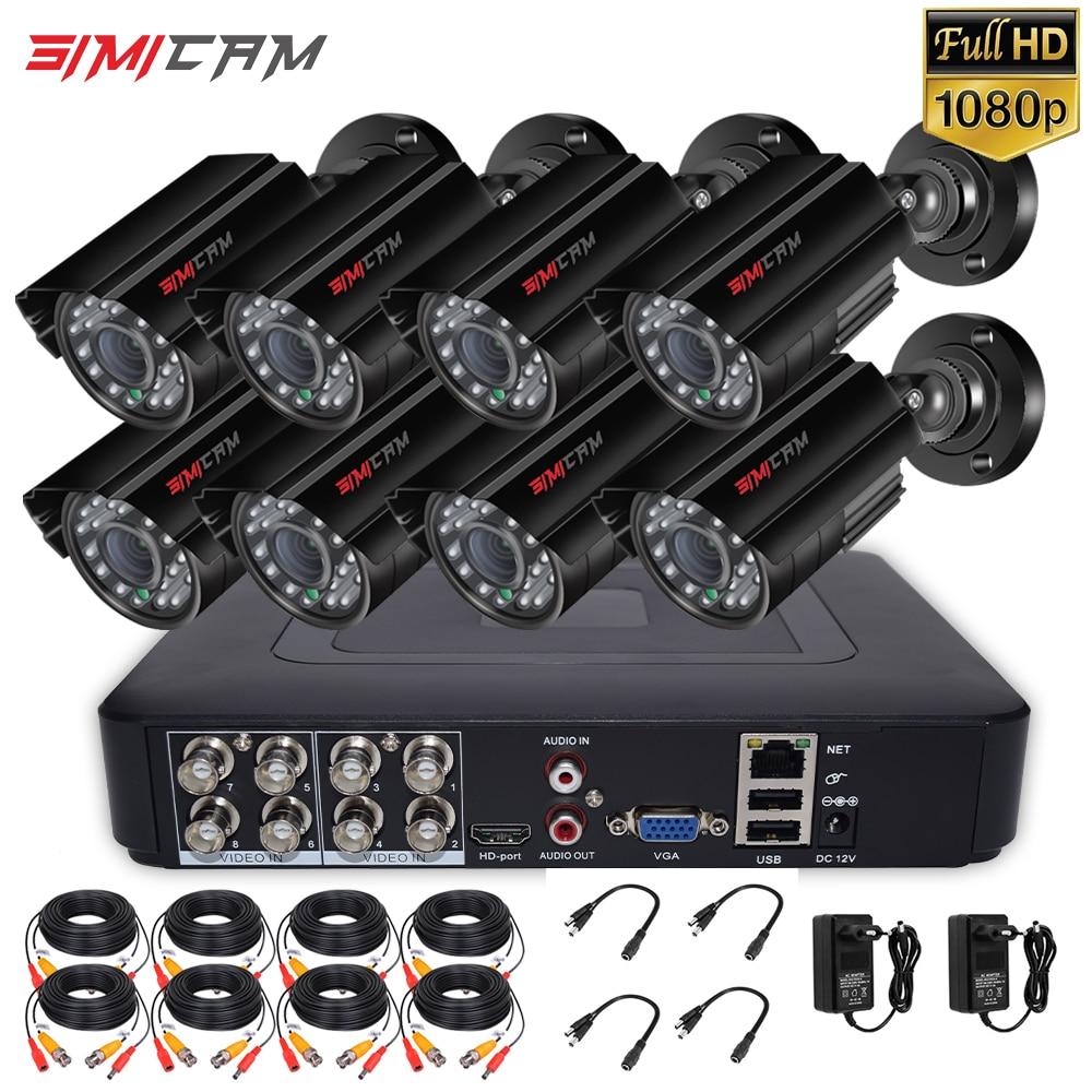 8CH 1080P الأمن نظام الكاميرا في الهواء الطلق 100ft للرؤية الليلية طقم مراقبة المنزل AHD CCTV مجموعة 2/4/6/8 قطعة رصاصة P2P سهلة عن بعد