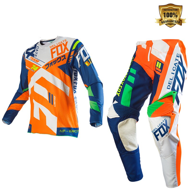 Delicate Fox Motocross Scooter Motorbike ATV Bike Riding Gear Set Motorcycle Orange Blue Suit