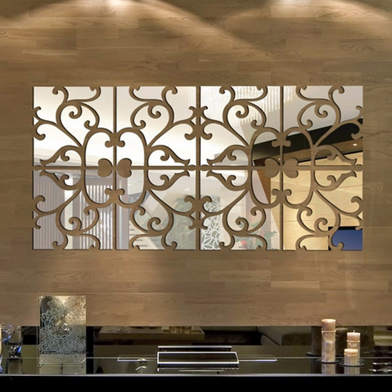 1 комплект, 3D зеркальные наклейки на стену, новый год, домашний декор, акриловая роспись, большое зеркало, поверхность, наклейка на стену, Новогоднее украшение, 20x80 см