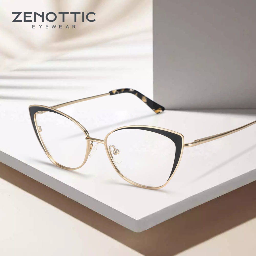 Zenottic 2020 feminino titânio metal gato olho óculos quadro marca designer moda miopia prescrição óculos ópticos