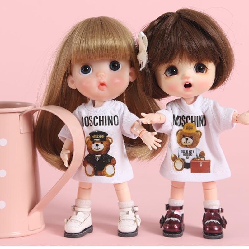 Houziwa ob11 boneca roupas 1/8 1/12 bjd boneca camiseta roupas para ob11 boneca