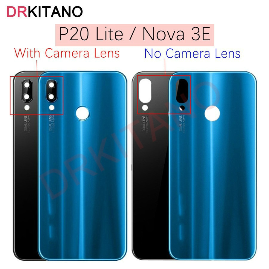 For Huawei P20 Lite Back Battery Glass Cover+Camera Lens NOVA 3E Rear Door Housing Case Panel for Hu