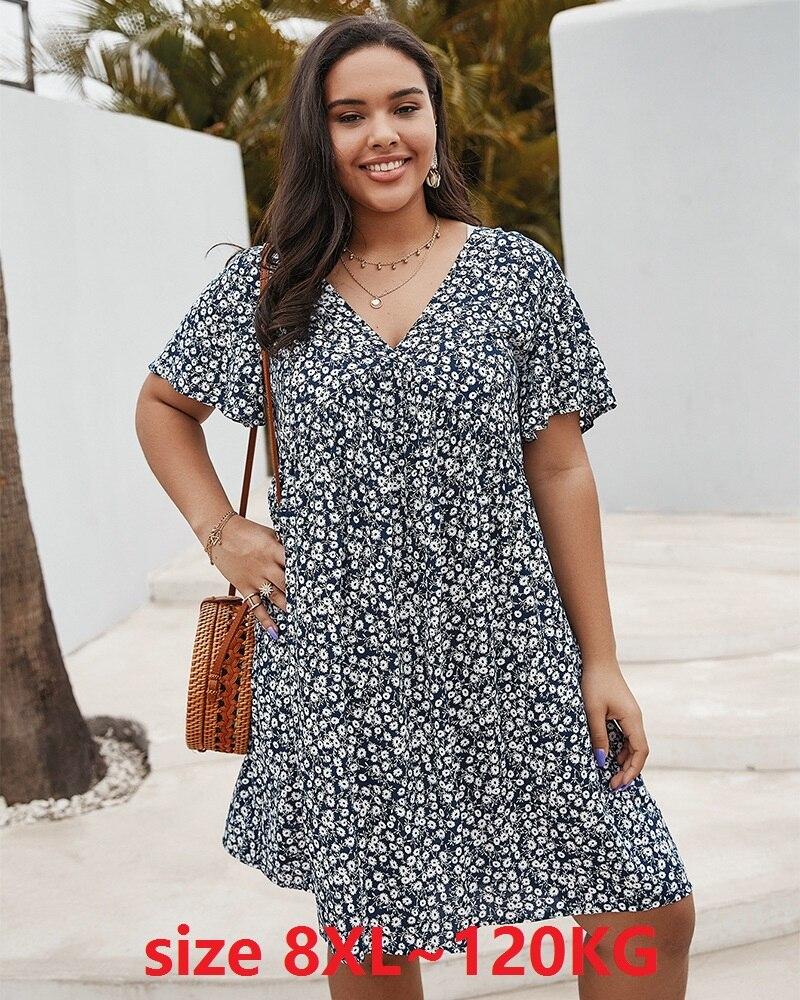 Vestido floral feminino plus size 6xl 7xl 8xl, 130kg, vestido azul, branco, manga curta, vestidos de flores, feminino vestido grande casual