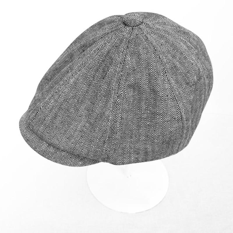 Мужская винтажная льняная тонкая дышащая шляпа с узором «елочка» на весну и лето Дамский берет на плоской подошве BLM238