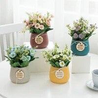 Marguerite artificielle avec pot de fleurs  Simulation de petite marguerite pour decoration de mariage  fleurs decoratives pour la maison