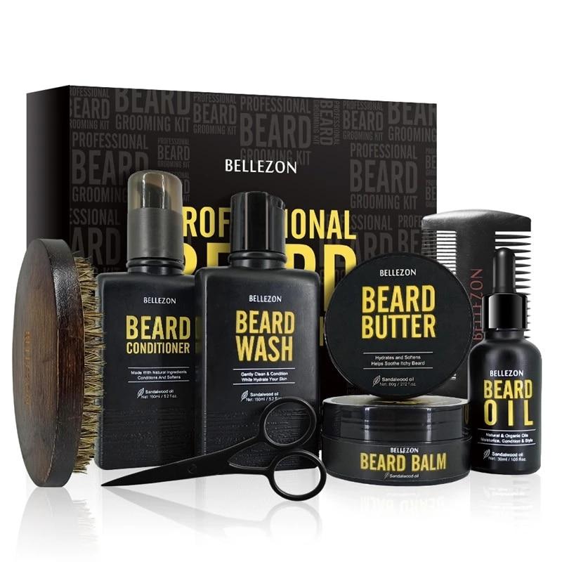 Beard Growth Kit Barba Enhancer Oil Scissors Wax For Hair Growth Man Beard care 8Pcs/Set
