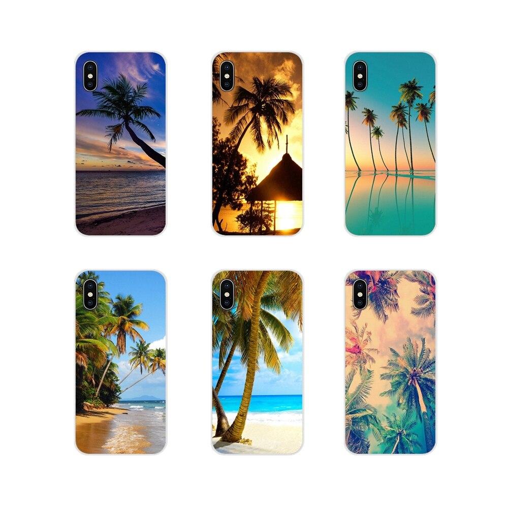 Capa de celular samsung a10 a30 a40 a50 a60 a70 galaxy s2 note 2 3 grand core prime paisagem praia mar árvore de coco