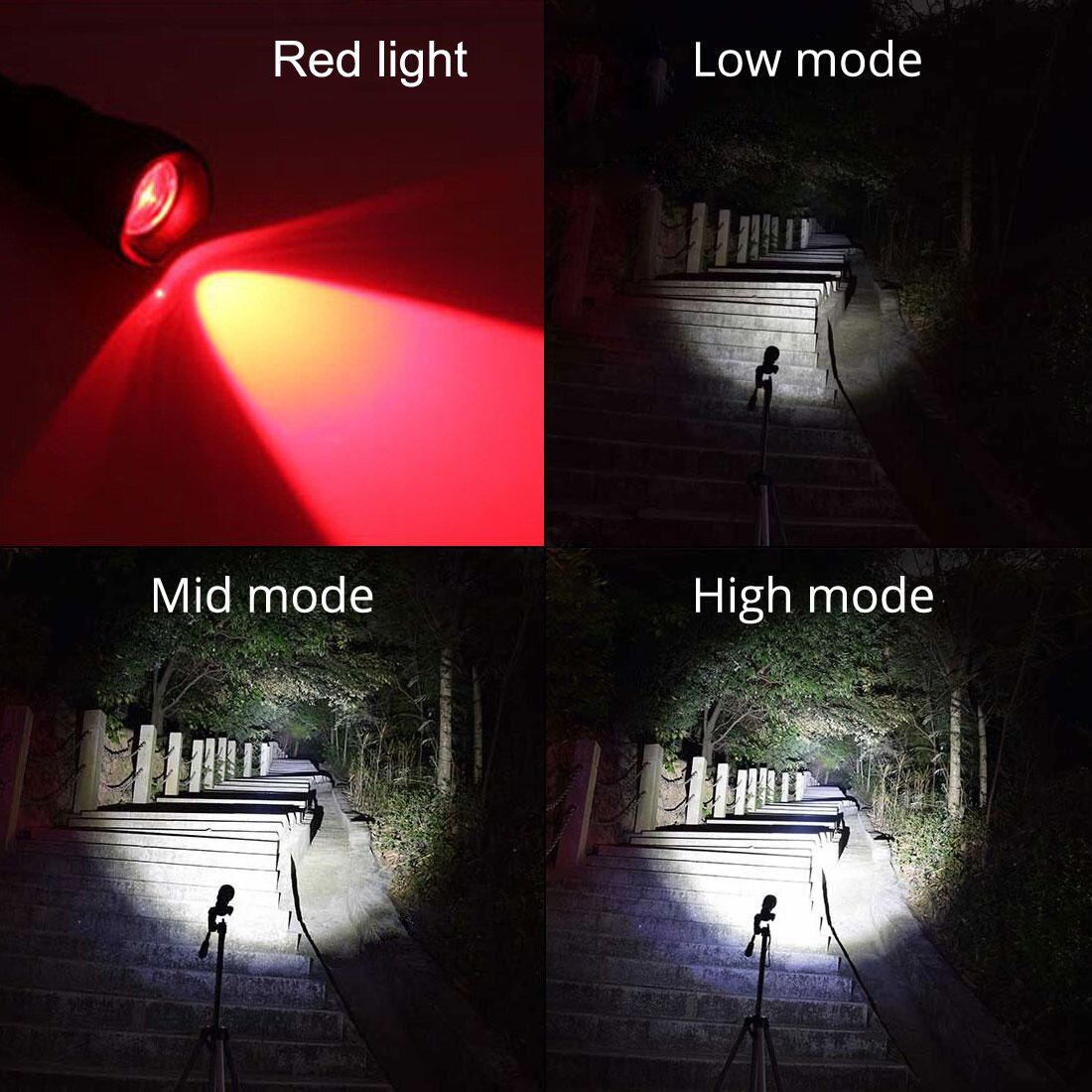 SecurityIng Scuba Torch 120 Degrees Angle  XM-L2 White + 2x XP-E R5 Red LEDs 18650 Battery Dive Photography Video Flashlight enlarge