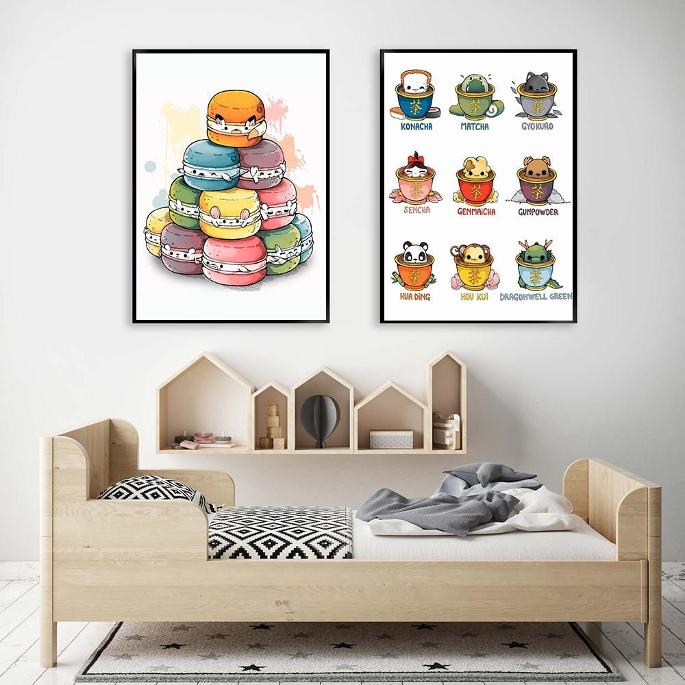 Cartoon Macaron Animals White Mouse Poster Tea Kawaii Dessert Shop Wall Print Canvas Painting Matcha Art Pictures Kitchen Decor