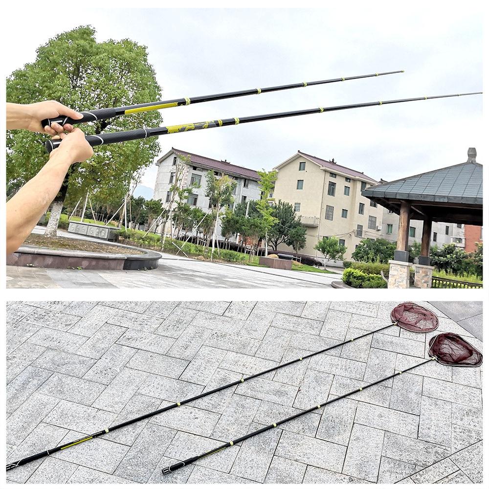 Red de pesca con mosca, redes ultraligeras de caña de carbono, Red de aterrizaje Triangular, palo retráctil, red telescópica plegable para pesca