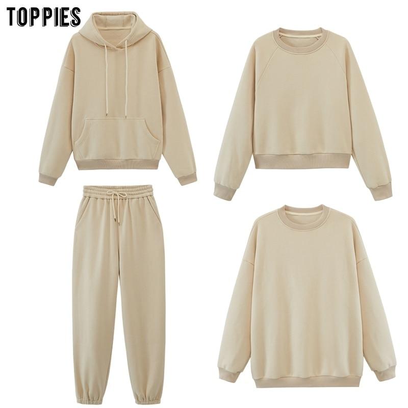toppies Womens Tracksuits Hooded Sweatshirts 2020 Autumn Winter Fleece Oversize Hoodies Solid Pullov