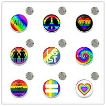 Bi Stolz Broschen LGBT Hypoallergen Homosexuell Stolz Kragen Pins Schmuck Regenbogen Flagge 20mm Glas Cabochon Schmuck Für Frauen Männer geschenk