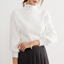 Turtleneck Sweater Women 2021 Screw Thread White 3/4 Sleeve Short Knitted Pullovers Autumn Clothing