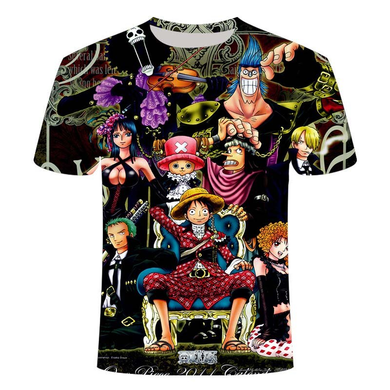 Luffy One Piece T-shirt Men's New Fashion Hip Hop T-shirt Casual Wear 3D Printing Summer Top T-shirt T-shirt