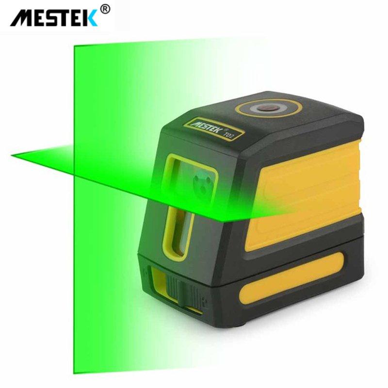 Nivelador láser de nivel láser verde MESTEK T02, nivelador láser autonivelante de 2 líneas, instrumento de medición de haz rojo con Cruz Horizontal Vertical