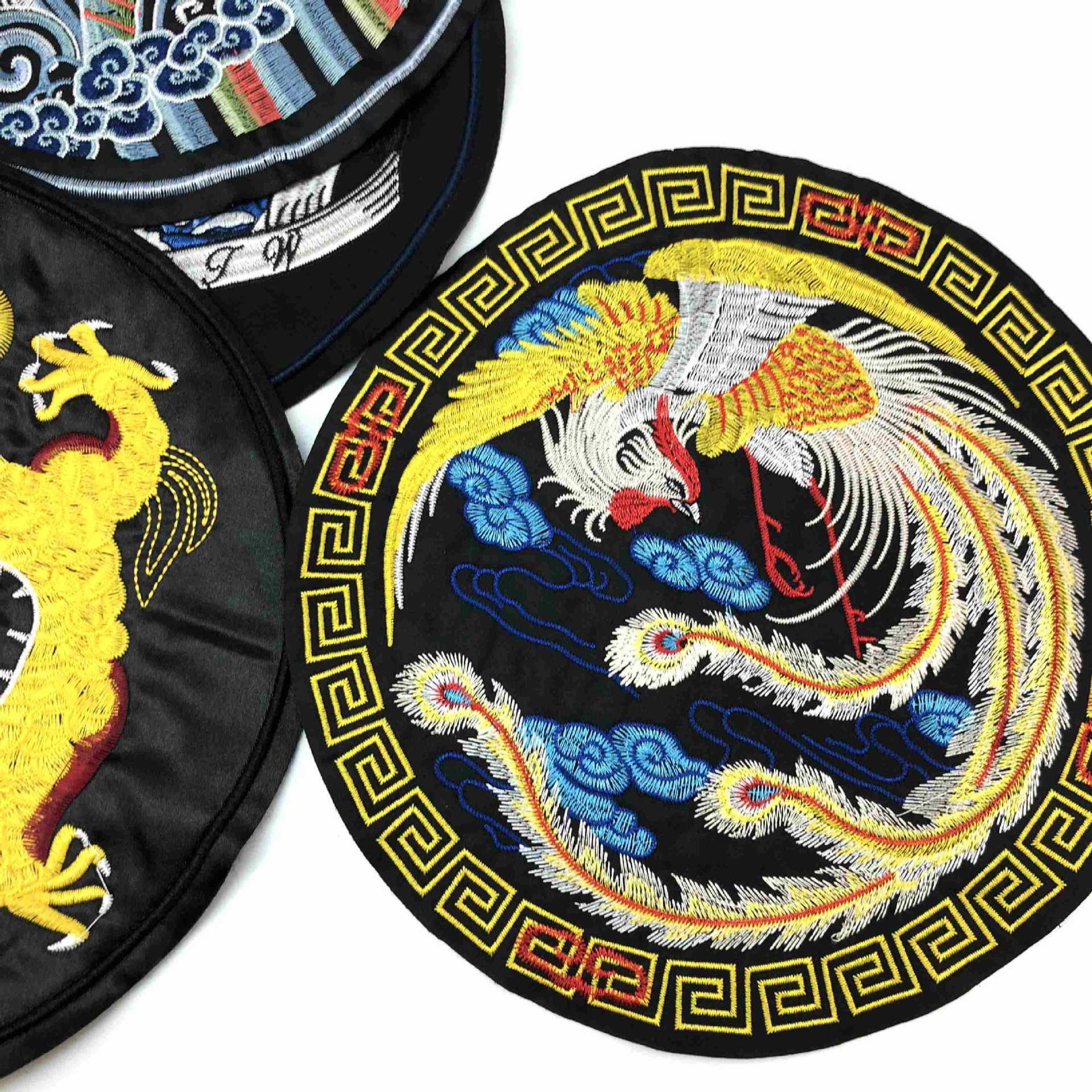 10 Pcs/lot Large Round  Chinese Dragon  Vintage Embroidery Patches Strange Things Clothing Decorals Accessories