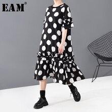 [EAM] فستان نسائي أسود منقط ومطبوع بكشكشة مقاس كبير جديد رقبة مستديرة وأكمام قصيرة فضفاضة مناسب لربيع وصيف 2020 1T815