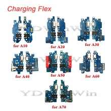 10 قطعة USB شحن شاحن حوض ميناء مجلس مع ميكروفون الكابلات المرنة لسامسونج غالاكسي A70 A60 A50 A40 A30 A20 A10 A305