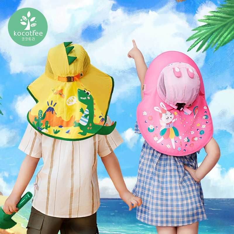 Kocotree Wide Brim Children Sun Hat Kids Panama Cap Summer Beach Girls Travel Outdoor Fashion Cute Dinosaur Boy Casual Hats