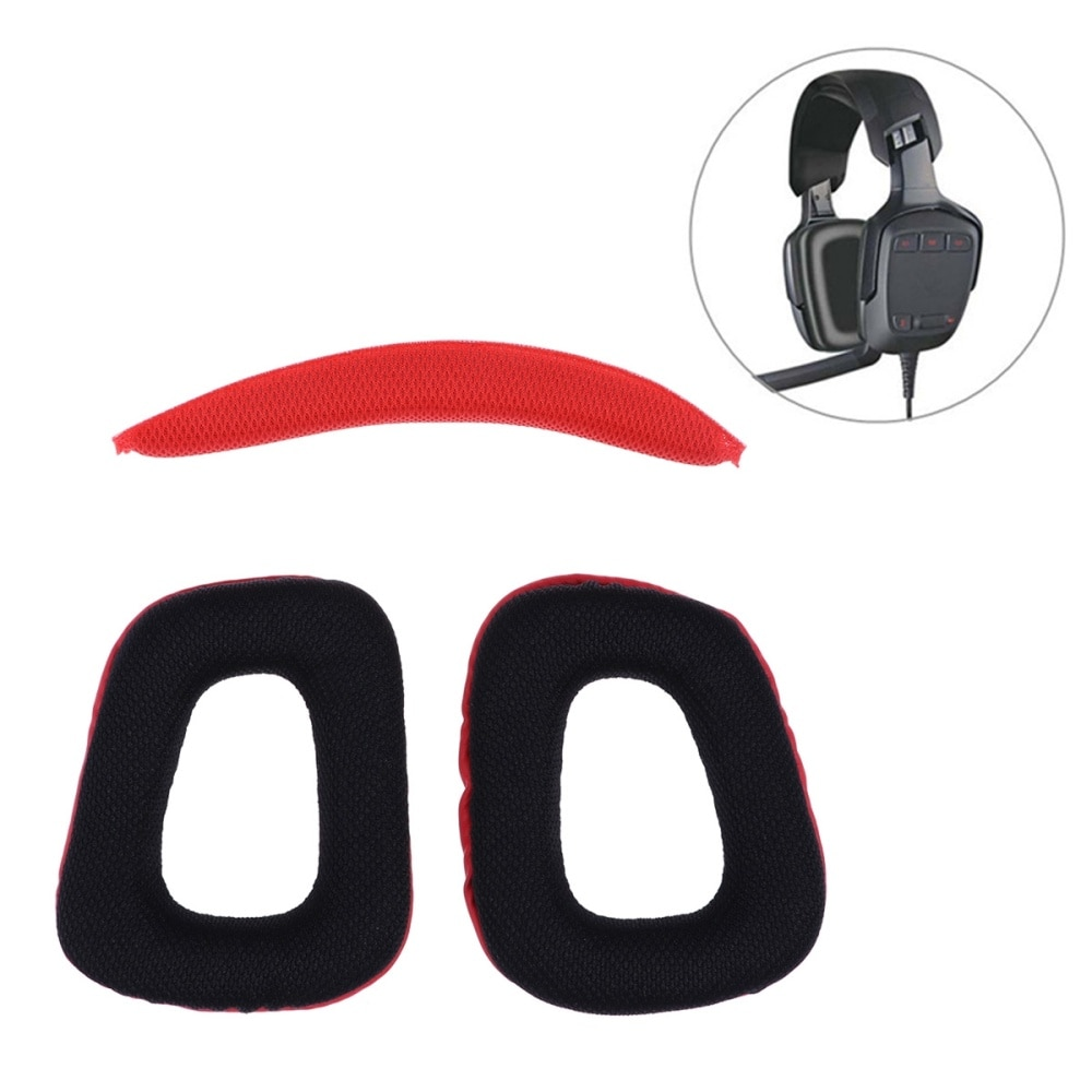 Pair of Replacement Soft Foam Ear Pads Ear Cushions with Head Beam Cushion for Logitech G430 G930 He