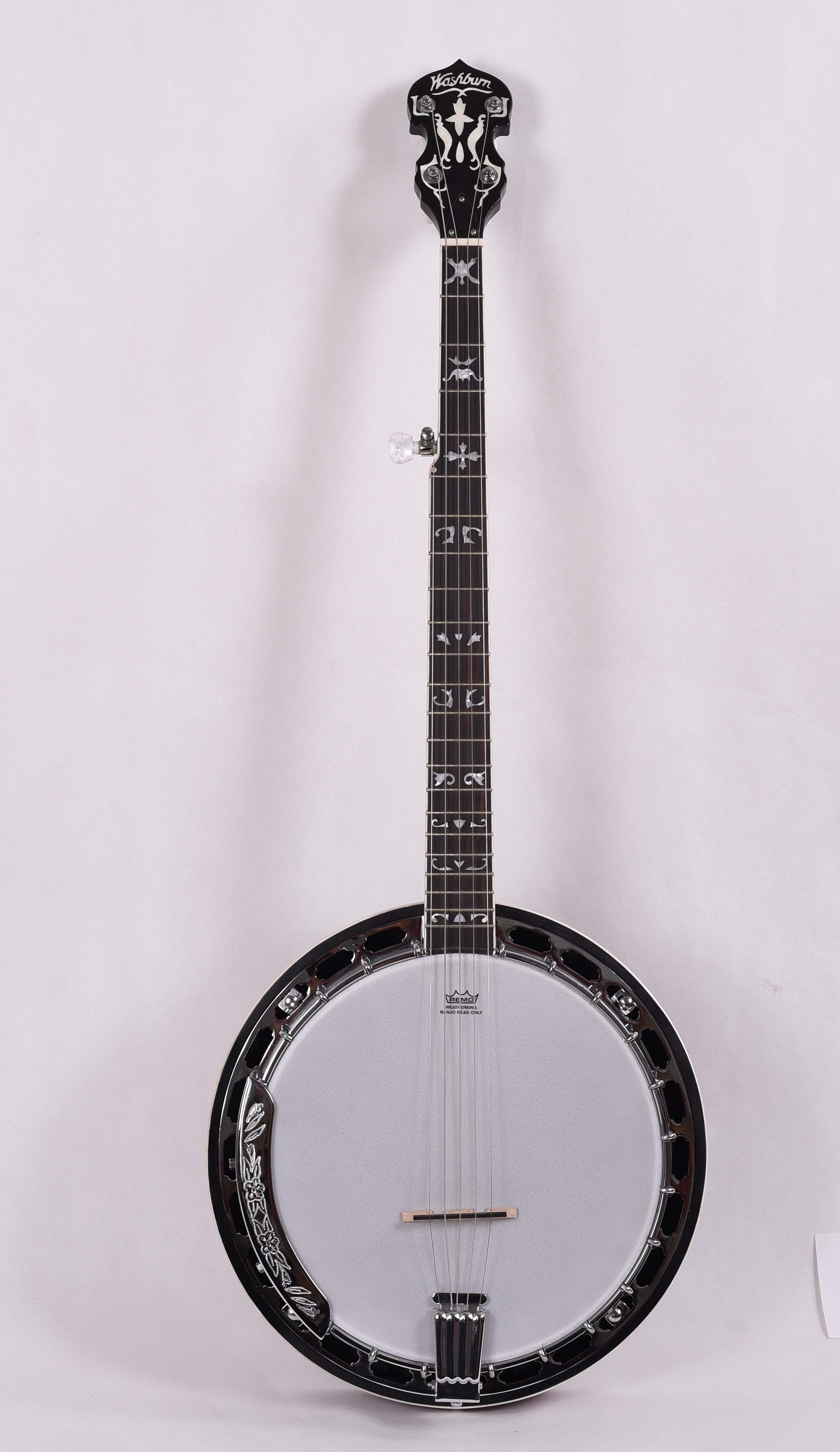 Instrumento musical Banjo de Jade blanco abierto con 5 cuerdas, sensación, FBJ-17