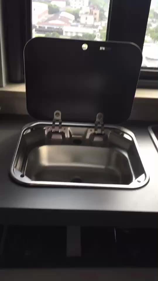 Caravan Stainless Steel Hand Wash RV Sink Kitchen Sink with lid GR-586 enlarge