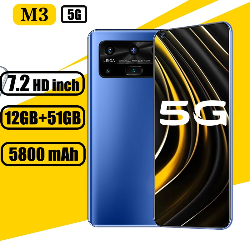 Global version 5G Mobile phones M3  12GB+512GB  7.2inch HD screen 16+32MP smartphone andoid phone 4G/5G Network
