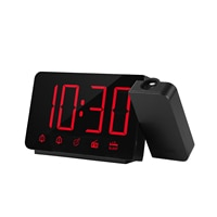 Projection Alarm Clock 180°Projector with FM Radio Snooze Function 4 Dimmer Dual Alarm USB Charging Digital Clock