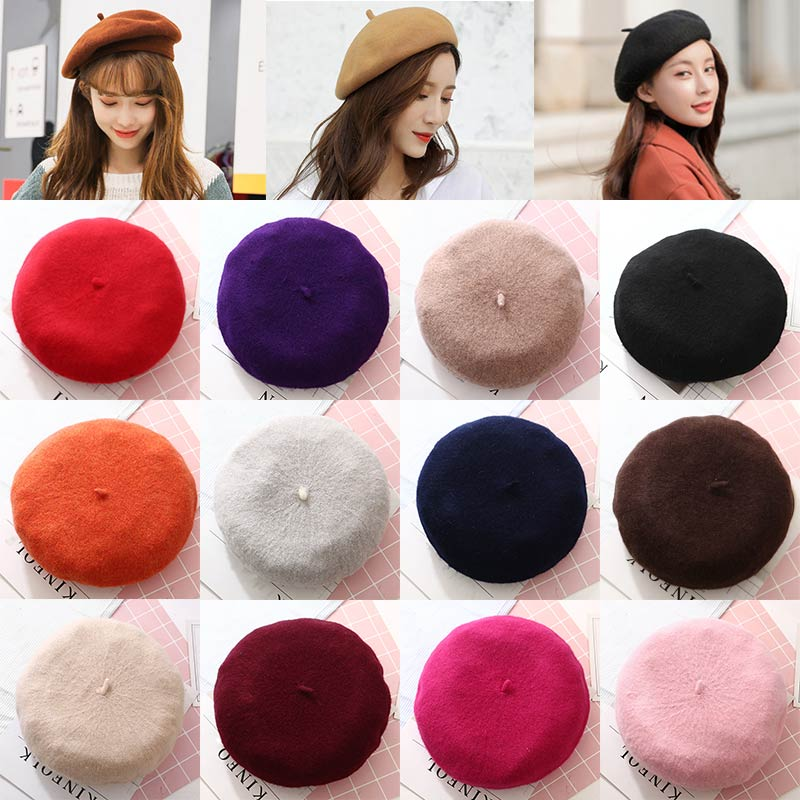 Vintage berets women lady spring winter berets hat painter style hat wool solid color caps female Bo