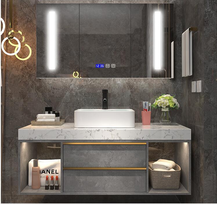 Nordic Luxury Bathroom Cabinet Modern Minimalist Bathroom Sink Wash Basin Wash Basin Bathroom Basin Cabinet Combination Leather Bag