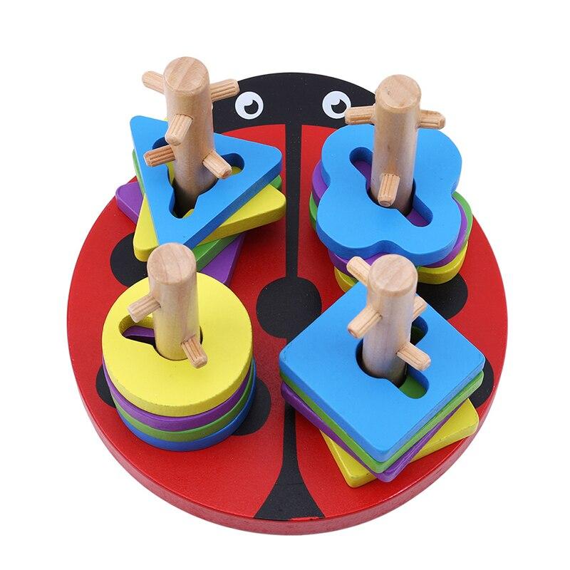 Jogo de empilhador de construção infantil besouro vermelho geometria de madeira forma classificador coluna brinquedo crianças brinquedo educativo da primeira infância