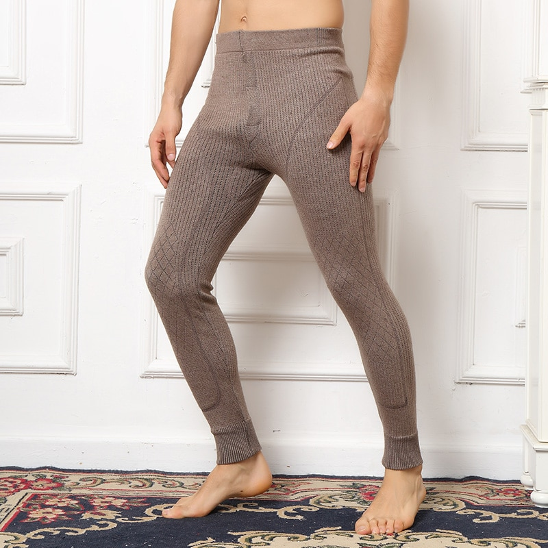 Man Leggings Double Thicker Warm Cashmere and Wool Knitting Pant 2019 New Long Knit Pants for Heavy Winter 3Colors Trousers
