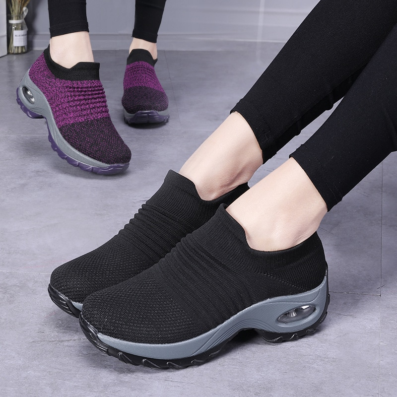 Women Casual Shoes Fashion New Flats Women's Vulcanize Shoes Walking Mesh Flat Shoes Woman Sneakers