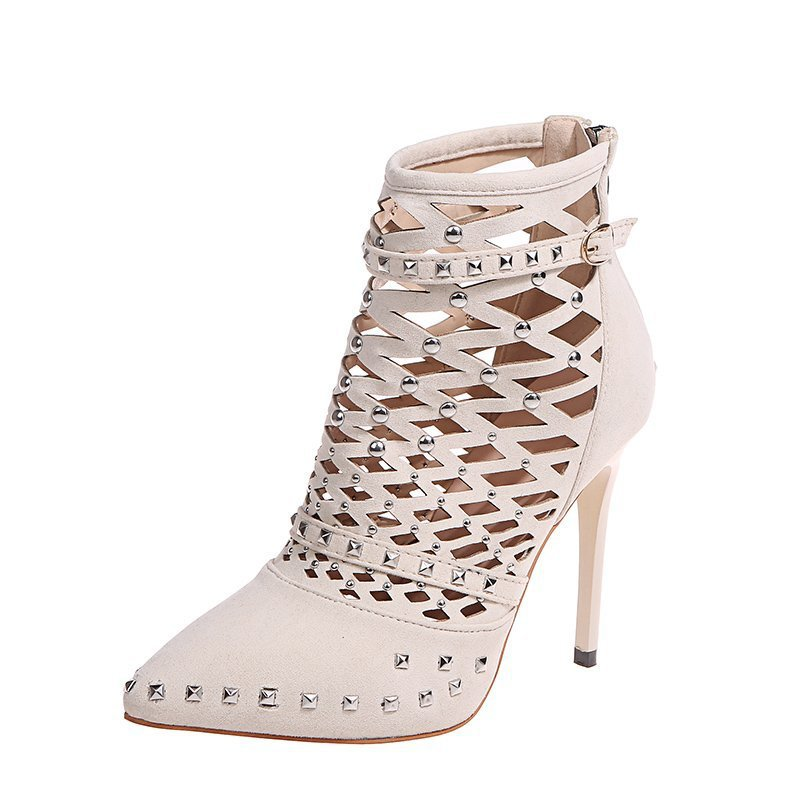 35-42 Plus Size Pointed Toe Suede Hollow Stiletto Women's Boots Sexy Fashion Rivet Spring Boots for Women 2021 New Boots