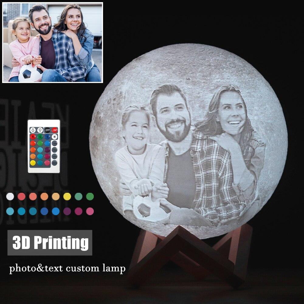 مصباح led على شكل قمر USB مطبوع ثلاثي الأبعاد ، قابل لإعادة الشحن ، صورة/نص مخصص ، 16 لونًا ، هدية عيد الميلاد والكريسماس ، التوصيل المباشر