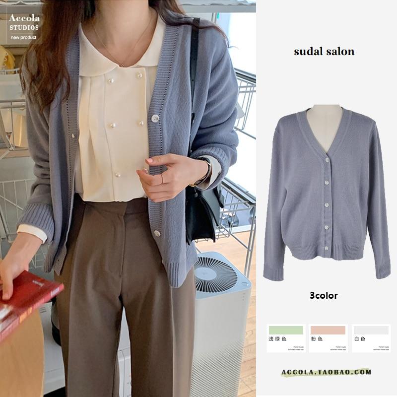 Jesień kobiety odzież zima Retro koreański styl miękkie mleko sweter dziergany płaszcz kobieta odzież wierzchnia Student luźna bluza z wycięciem w serek
