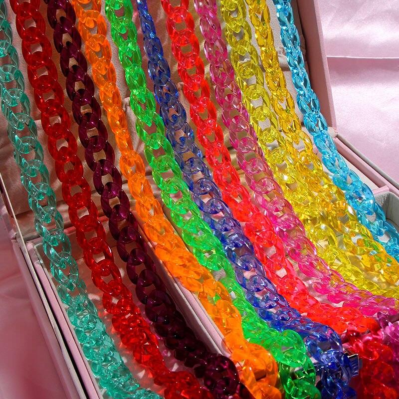Nueva cadena para gafas de lectura de Color caramelo a la moda para mujer, diseño acrílico Simple, cadena antideslizante para gafas, cordón para gafas de sol