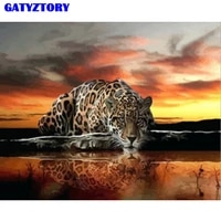 frame leopard animals diy painting by numbers acrylic picture by numbers oil painting on canvas for home decor artwork 60x75cm