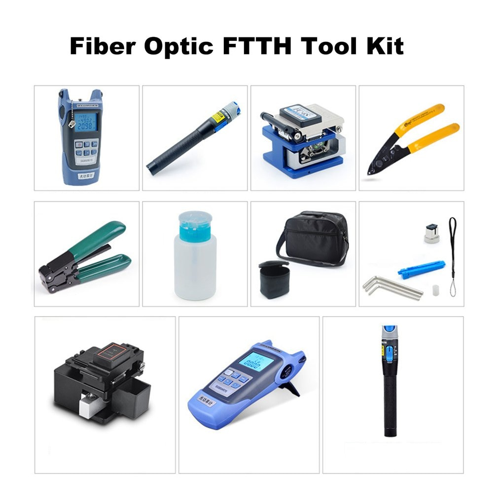 FTTH Fiber Optic Tool Kit 11pcs/set FC-6S Fiber Cleaver -70~+3dBm Optical Power Meter 5km Laser pointe
