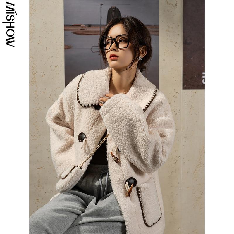 CMAZ 2020 Winter Parkas For Women Casual Large Pocket Overcoats Duffle Coats Lamb Wool Warm Outerwear Female Jackets MX20D9775