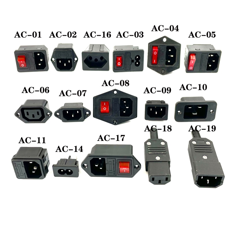 IEC320 C14 Electrical AC Socket 3 pin red LED 250V Rocker Switch 10A fuse female male inlet plug connector 2 pin socket mount