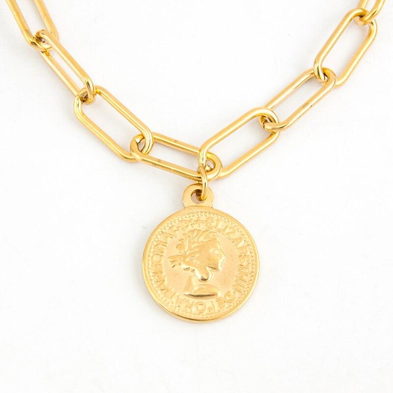 Münze Halskette Frauen Vintage Medaille Münze Euro Cent Anhänger Halskette Edelstahl Metall Religiöse Schmuck