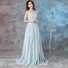 Long Chiffon Wedding Bridesmaid Dress Beads Appliques 2020 Backless Irregular Evening Prom Gowns Rea