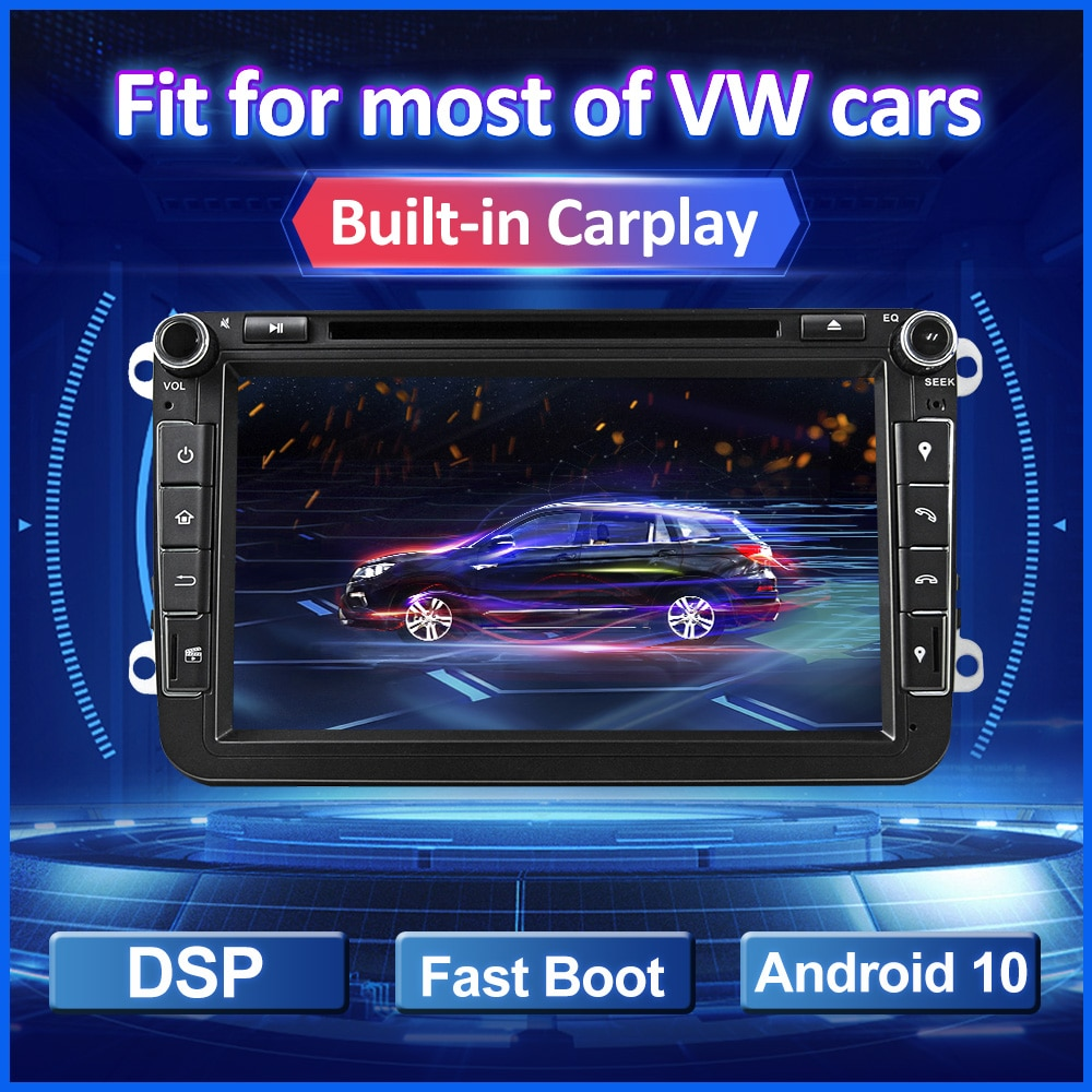 Eunavi-راديو السيارة متعدد الوسائط GPS ، راديو مع مشغل DVD ، Android 10 ، 2 Din ، لـ VW Golf 5 6 Polo Tiguan Passat b7 b6 Seat Skoda Octavia Magotan CC
