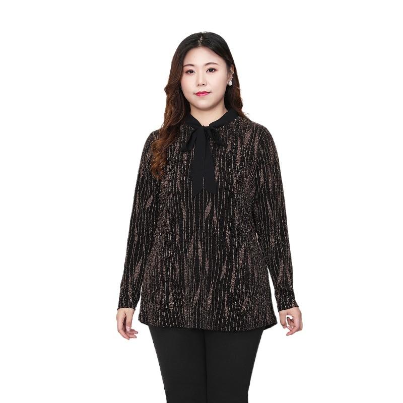 بلوزة نسائية مخططة بأكمام طويلة ، ملابس ربيعية ، مقاس كبير ، 4XL إلى 10XL ، ياقة شريطية ، كاجوال ، T20252