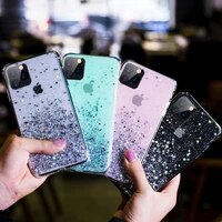 luxury bling glitter phone case for iphone 11 12 pro max mini xs max x xr 8 7 6s 6 plus se 2020 soft silicone clear cover case