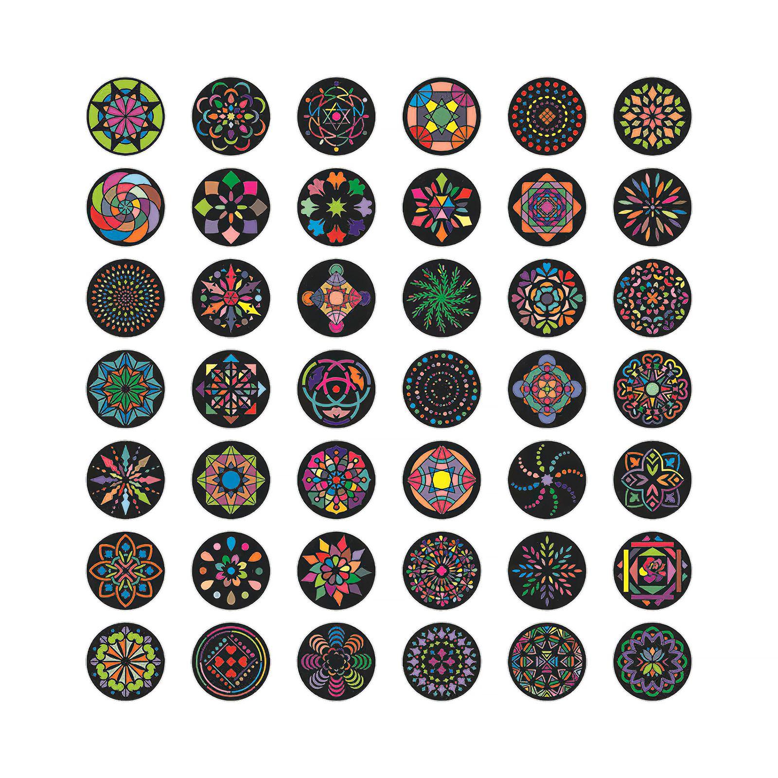 42 pacotes redondos padrões planejador conjunto de formas bonitas para projetos de arte de pintura de rocha diy 10.2*10.2cm polegadas 4.01*4.01 polegadas