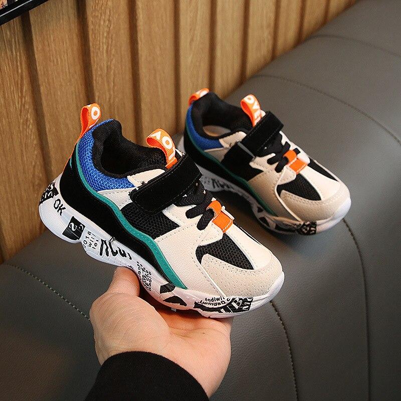 2019 зимняя детская спортивная обувь для детей, повседневные кроссовки в стиле пэчворк для мальчиков, Модные осенние студенческие ботинки с г...